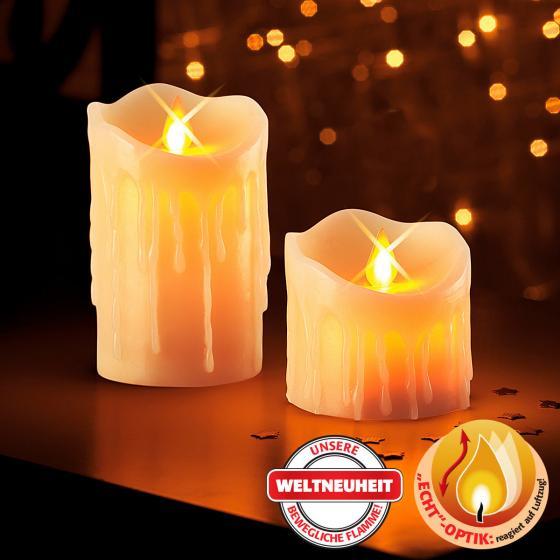 LED-Echtwachskerzen Kerzenzauber, 2er-Set