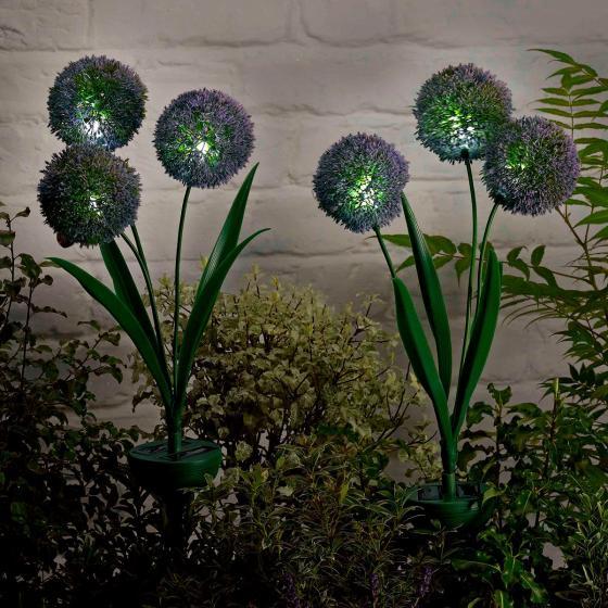 Solar-Gartenleuchten Trio Allium, 2er-Set