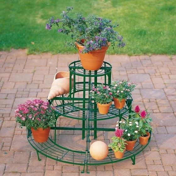 Blumentreppen-Kombi-Set, rund, grün