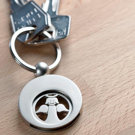 Schlüsselanhänger Engel mit Einkaufswagen-Chip