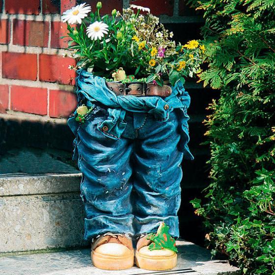 Pflanzgefäß Pflanz-Jeanshose mit Fröschen