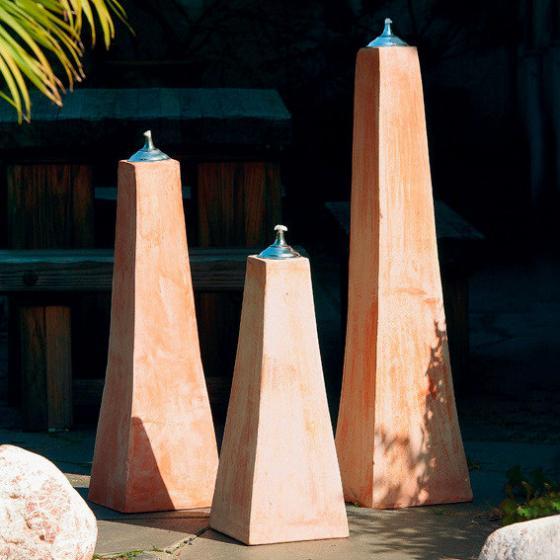 Terracotta-Pyramiden-Öllampen, 3er-Set (3 Größen)