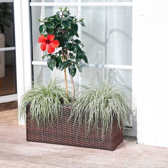 Outdoor-Rattan-Pflanzkasten,rechteckig inkl. 3 Pflanzeinsätze