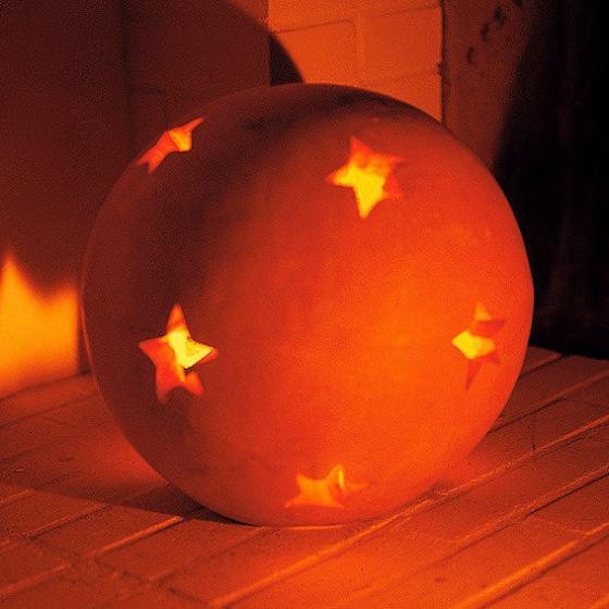 Terracotta-Dekokugel mit Sternen 12 cm