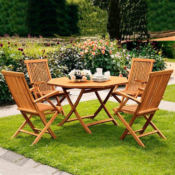 TEAK-Sitzgruppe Elegance (4Stühle + Achteck-Tisch)