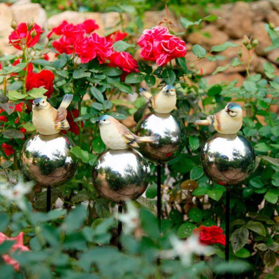 Rosenkugeln mit Vögelchen, 4er-Set