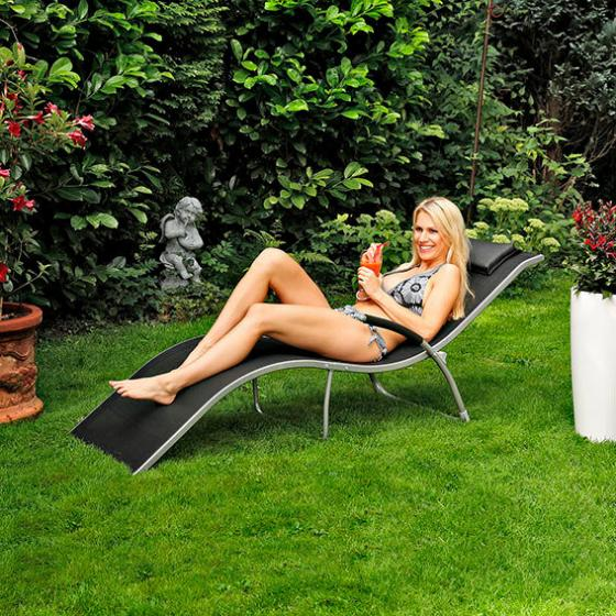 Lounge-Sonnenliege Malibu, schwarz
