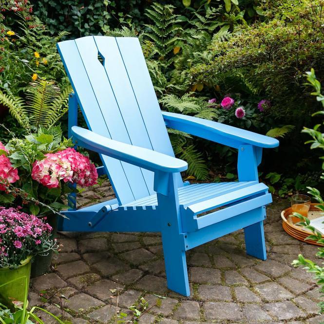 "Gartenstuhl ""Beach Club"" aus Akazienholz, blau"