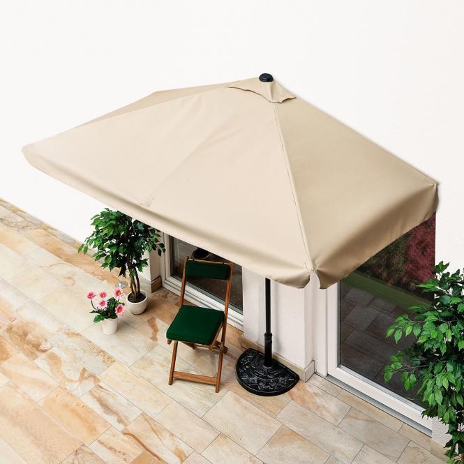 Balkon-Sonnenschirm, eckig, beige