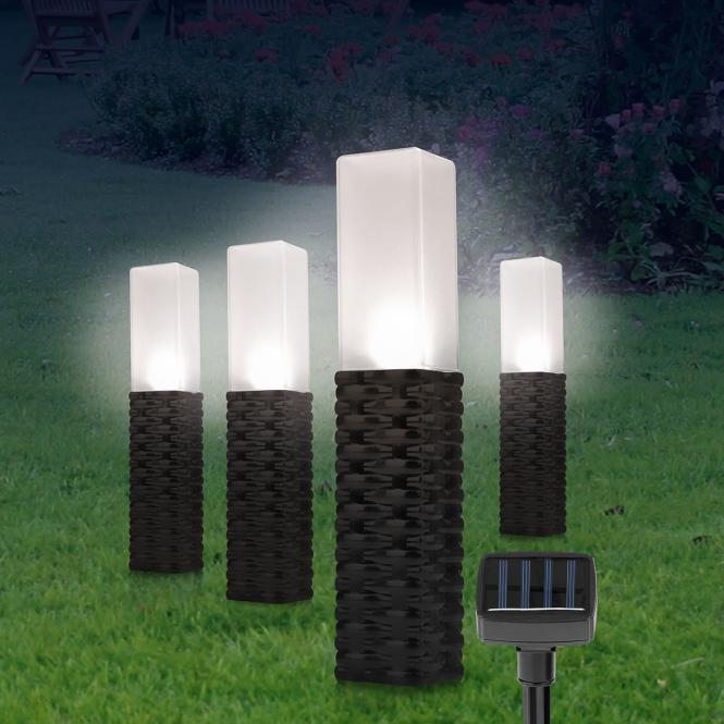 Solar-Rattan-Leuchten Obelisk, 4er-Set, schwarz