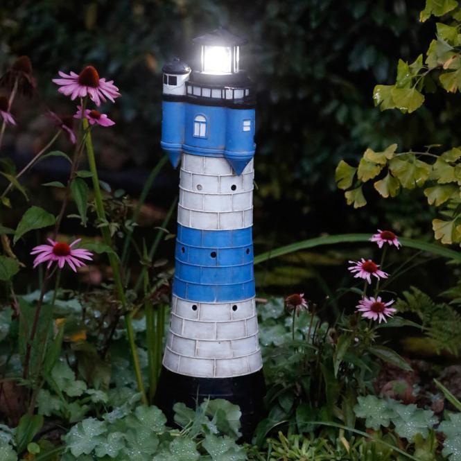"""Deko-Objekt """"Leuchtturm Juist"""" aus Polyresin, solar, blau/weiß"""