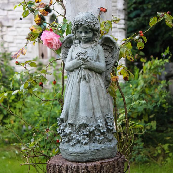 Steinguss-Figur Blumenengel Fiona