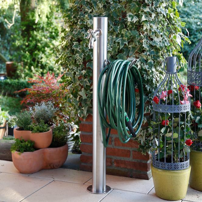 Wasserzapfsäule Silverline, rund, 100x14x21 Zentimeter, Edelstahl