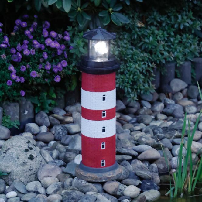"*NEU*: Deko-Objekt ""Leuchtturm Amrum"" aus Polyresin, solar, rot/weiß"
