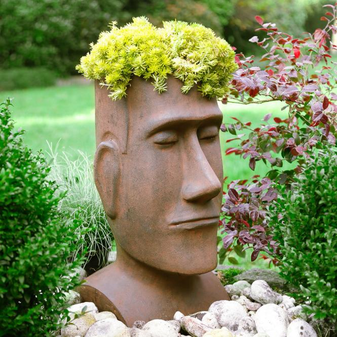"Pflanzgefäß ""Moai"" aus Terracotta, rotbraun"