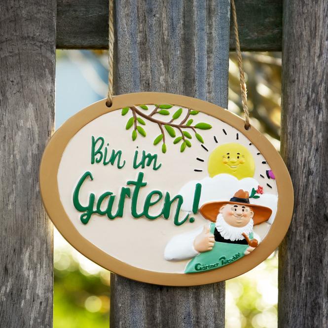 """Gärtner Pötschke Schild """"Bin im Garten"""
