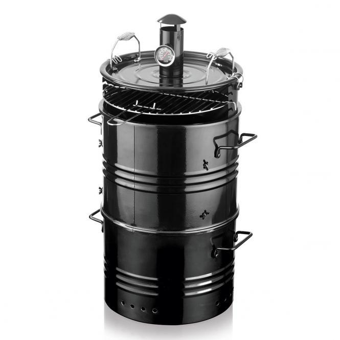 """*NEU*: BBQ-Grill """"5 in 1"""" aus Stahl, mit Thermometer, schwarz"""