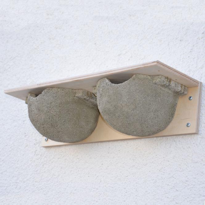 *NEU*: Mehlschwalben-Doppelnest aus Holzbeton, grau
