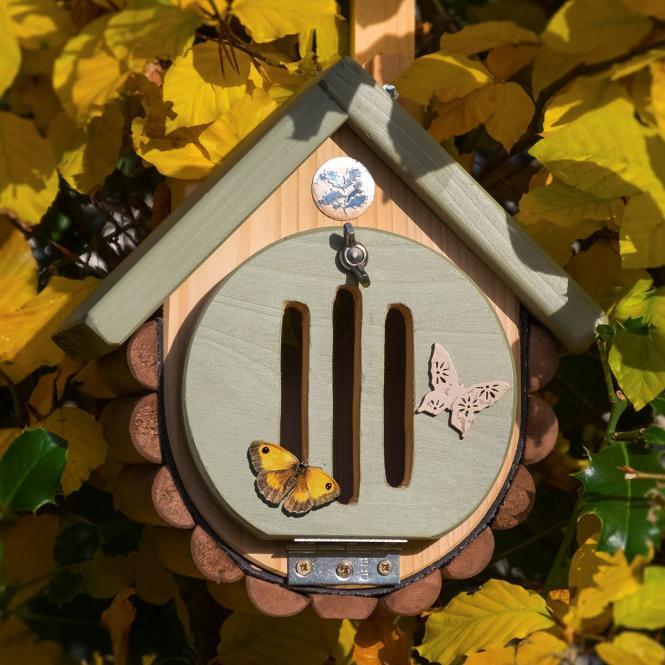 """*NEU*: Schmetterlingshaus """"Pastello"""" aus Holz, braun/grün"""