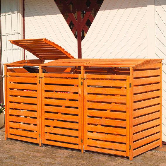 Mülltonnenbox Vario III für 3 Tonnen, honigbraun