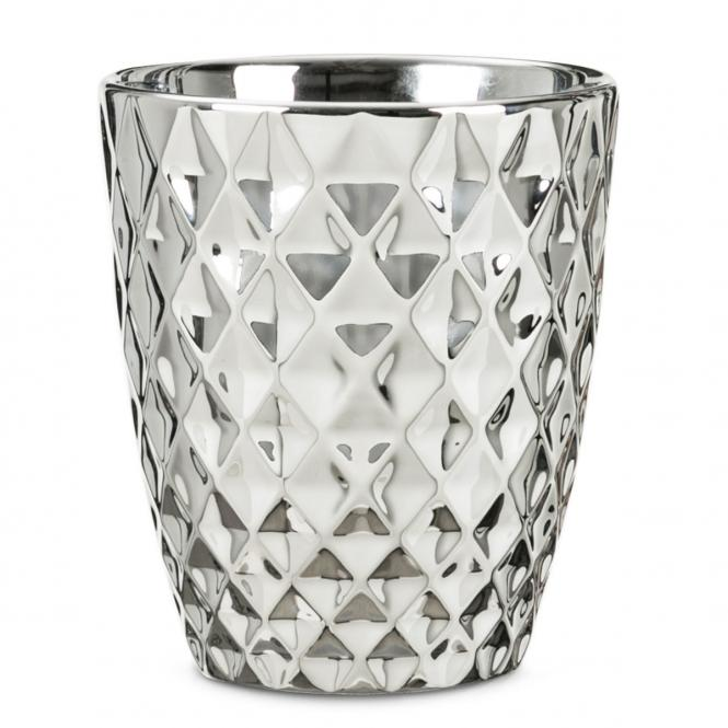 Scheurich Keramik-Orchideengefäß, Struktur, rund, 14,5x13x13 Zentimeter, silber