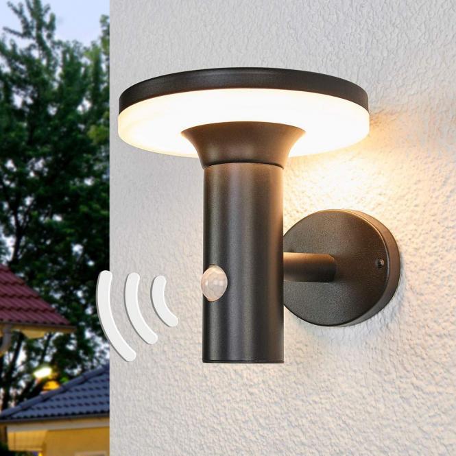 LED-Solar-Wandleuchte Eliano mit Bewegungsmelder, 17x16x17 Zentimeter, Edelstahl, schwarz