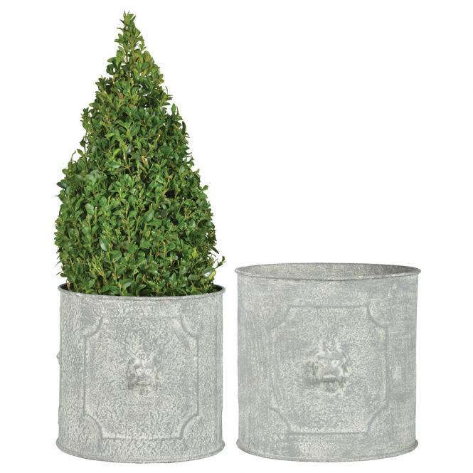 Pflanzkübel Rom, 2er-Set rund, Stahl, weiß