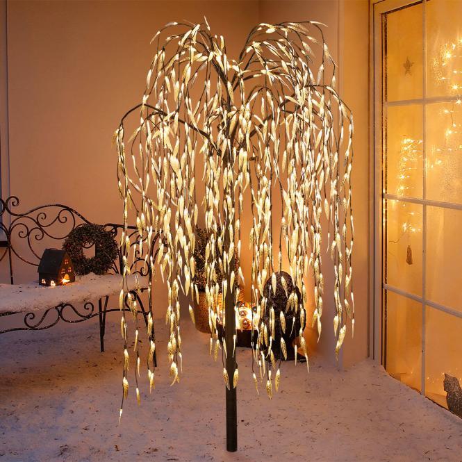 *Merry X-Mas*: LED-Weidenbaum aus Metall, braun