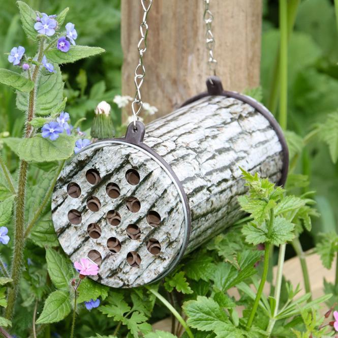 *NEU*: Bienenhotel mit Räuberschutz aus Metall, grau
