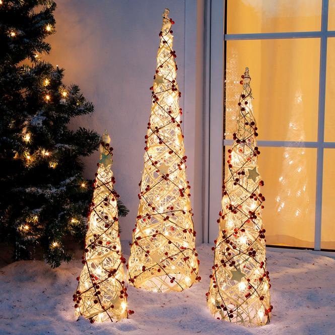 """*All for X-Mas*: LED-Leuchtkegel """"White Glow"""", 3er-Set"""