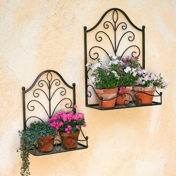 """Blumenfenster """"Elysee"""" aus Eisen, braun, 2er-Set"""