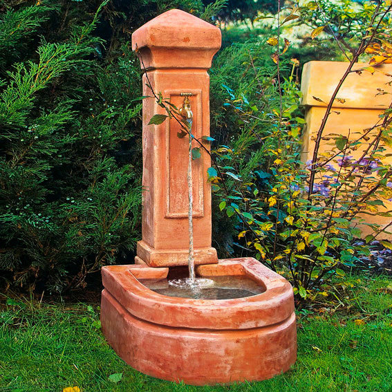 """Gartenbrunnen """"Florenz"""" aus Terracotta, terracottafarben"""