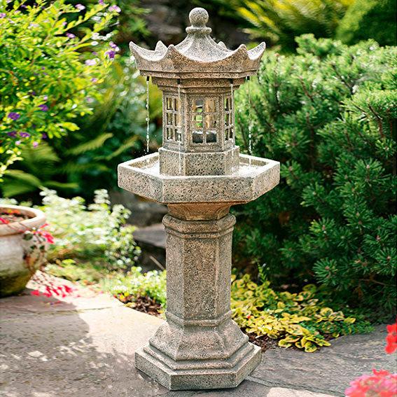 """Gartenbrunnen """"Japanische Steinlaterne"""" aus Polyresin, grau (Kopie) Pötschke"""