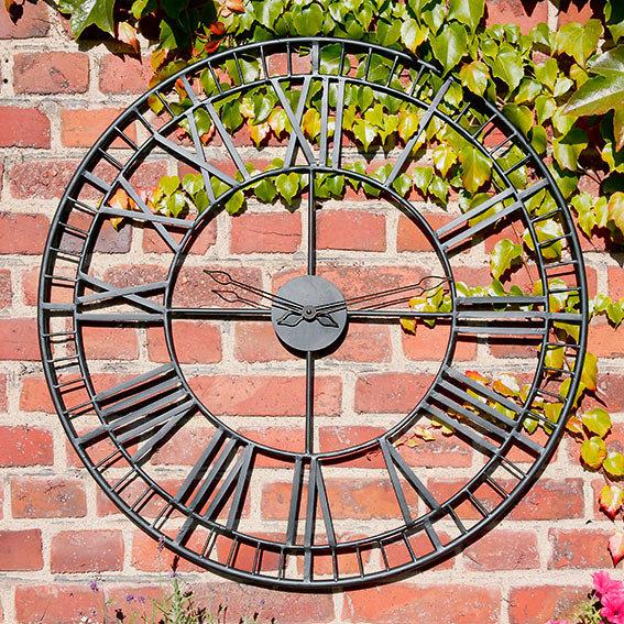 """*NEU*: Gartenwanduhr """"Great Britain"""" aus Eisen, schwarz"""