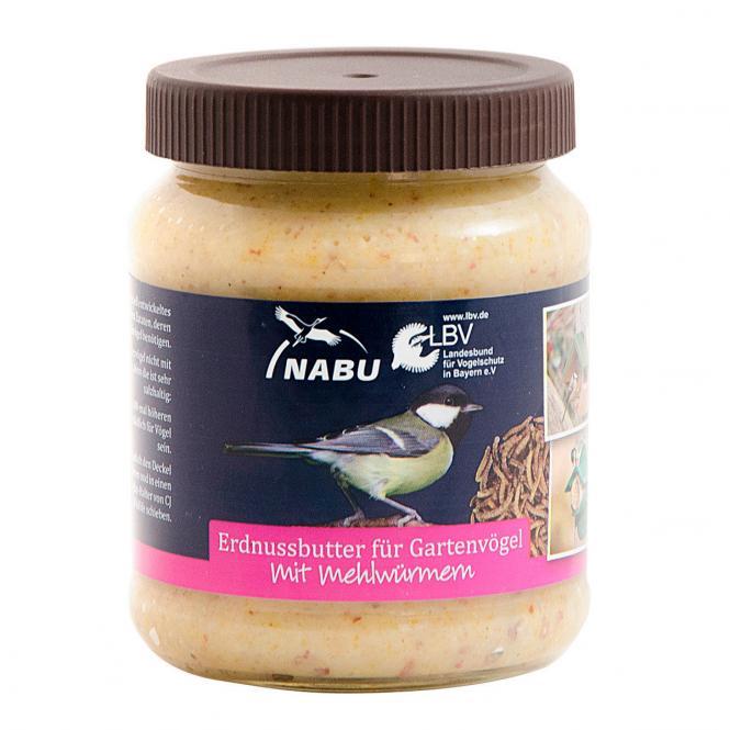 Erdnussbutter für Vögel mit Mehlwürmern, 330g-Glas