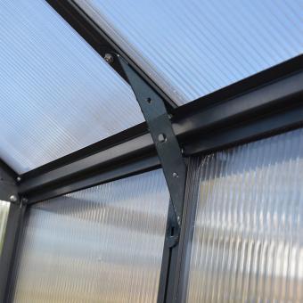 Palram Gewächshaus Glory 8 x 8 inkl. Stahlfundament u. Zubehör, 244,5 x 244,5 x 268,5 cm, anthrazit | #10