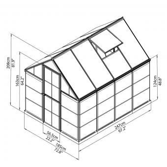 Palram Gewächshaus Inter Line 6 x 8 inkl. Stahlfundament, 246 x 185 x 209 cm, Aluminium, silber | #10