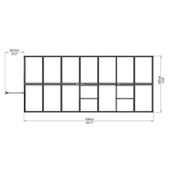 Palram Gewächshaus Multi Line 6 x 14 inkl. Stahlfundament, 424 x 185 x 209 cm, Aluminium, silber | #10