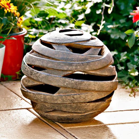 Windlicht terracotta kugel saturn klein von g rtner for Gartendeko neuheiten
