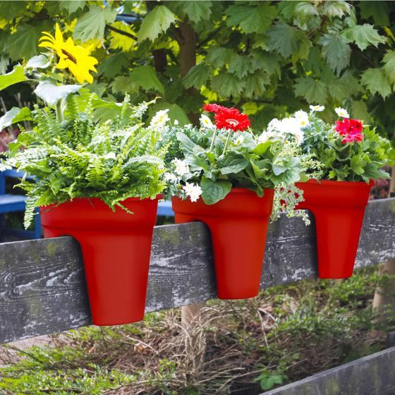 Geländertopf Flowerclip, 27 cm, rot | #2