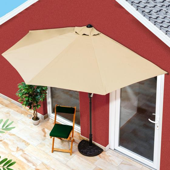 Balkon-Sonnenschirm, halbrund, beige | #2