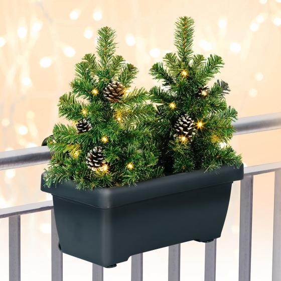 Blumenkasten mit LED-Tannenbäumen, 43x40x20 cm, Kunststoff, grau grün | #2