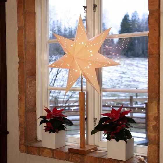 Star Standleuchte Winter Starlight, 100x60x20 cm, Holz und Papier, beige | #2