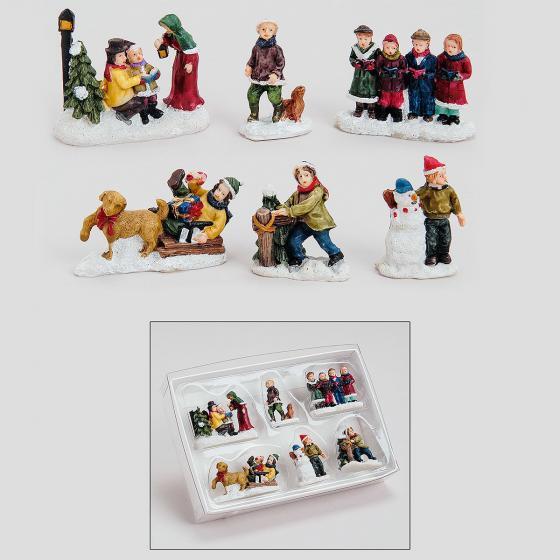 Miniatur-Winterfiguren Buntes Treiben, 6er-Set | #2