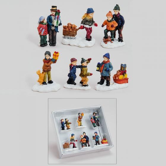 Miniatur-Weihnachtsdorf-Winterfiguren Schneespaß, 6er-Set | #2