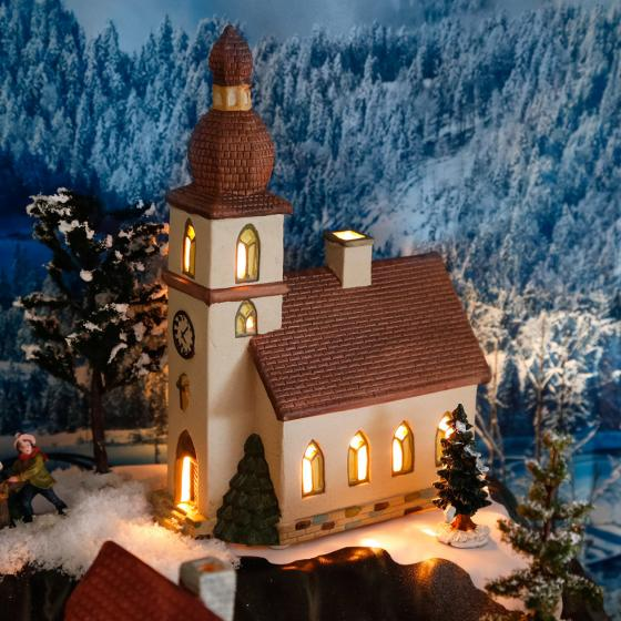 Miniatur-Weihnachtsdorf Lichthaus Dorfkirche | #2