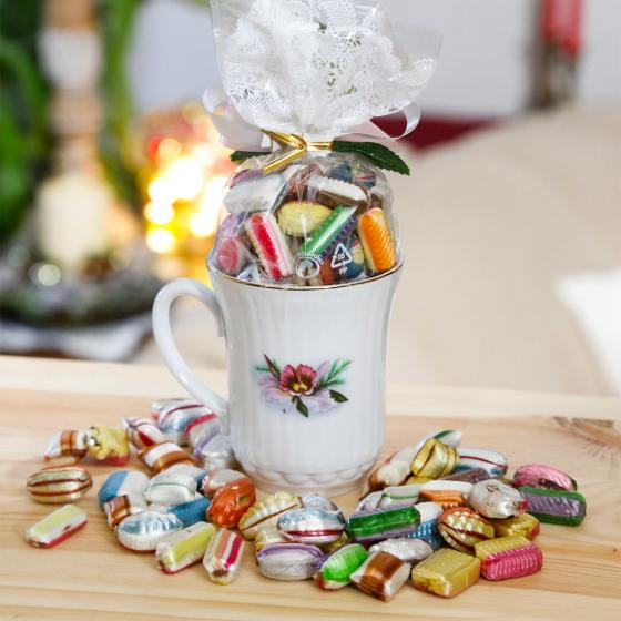 Geschenk-Tasse Orchidee mit 100g Fourrée-Bonbons   #2
