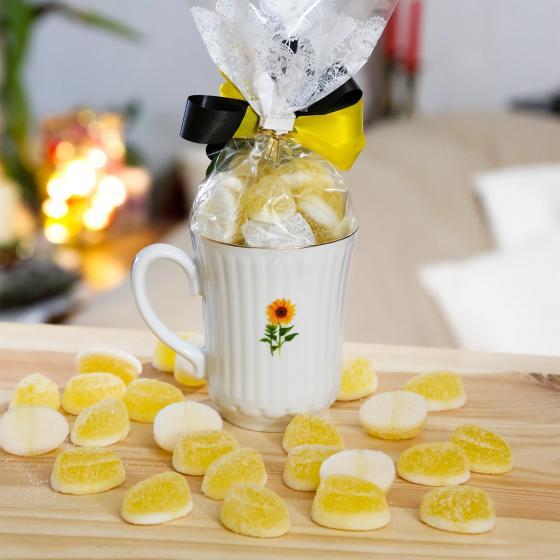 Geschenk-Tasse Sonnenblume mit 100g Mango-Gelee-Früchten mit Joghurtgeschmack | #2