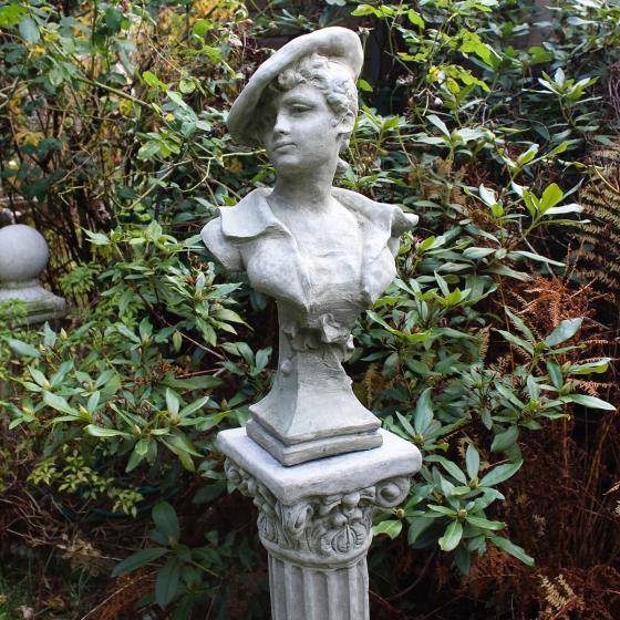 Steinguss-Büste Scarlett mit Säule | #2