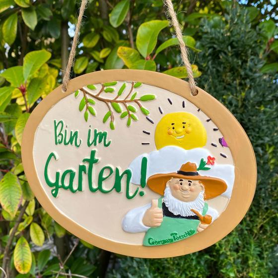 "Gartenschild ""Bin im Garten"" | #2"